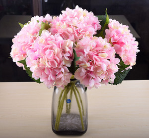 Artificial Hydrangea Flower Head 47cm Fake Silk Flower Real Touch Single Hydrangeas Home Party Wedding Decoration 19 Colors VT0328