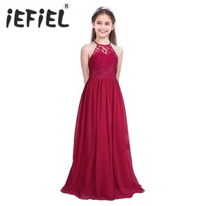 iEFiEL Sleeveless Girls Lace Chiffon Halter Flower Girl Dress Princess Pageant Wedding Kids First Communion Tutu Maxi Long Dress
