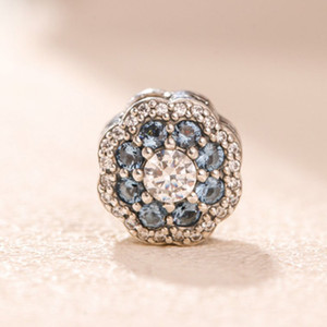 2021 FIT 925 Perles d'argent Sterling Bracelets Bleu Snow Rose Beads Beads Charmes Bracelets Pour Femmes Perles Diy Perles Love Collier Bijoux