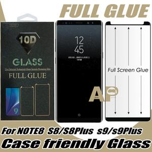 La pleine colle cas amical en verre trempé écran protecteur pour Samsung Galaxy S10 S9 S8 Note 9 10 Plus avec le paquet détail