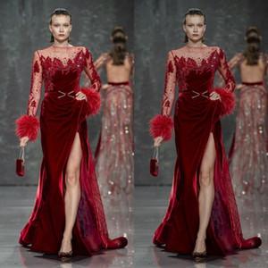 Burgonya Abiye Kadife Tüy Boncuk Dantel Bölünmüş Prom Gowns Artı boyutu Örgün Parti Elbise Elbiseler De Soirée