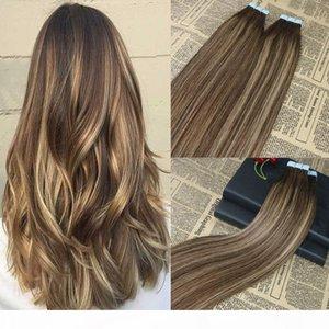 100% del nastro dei capelli umani nelle estensioni Balayage evidenziata nastro sul 40pcs Remy di estensioni dei capelli omber brasiliani Hair Extensions 100g