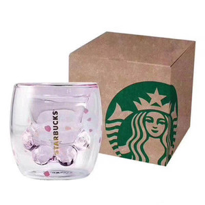 2019 Starbucks limitierte Eeition Cat Fuß Cup Großhandel Starbucks Katzen-Tatzen-Becher Katzenkralle Kaffeetasse Spielzeug Sakura 6 Unzen Rosa Doppelwandglasbecher