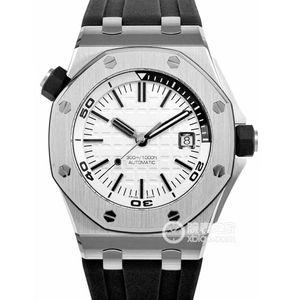 Luxury Royal Oak Offshore fashion Diver 42mm mens Automatic Movement 15703 Rubber Belt Mens White Dial Wristwatches Sports Watches