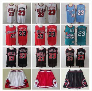 Mens ChicagoBullsThrowback Michael 23 MJ maglia Pallacanestro pantaloncini da basket maglie rosso nero oro bianco blu di alta qualità