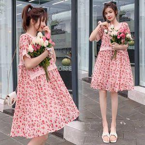 6670# Maternity Dress V neck Floral Summer Chiffon Short Sleeve Loose Stylish Dress for Pregnant Women Mom