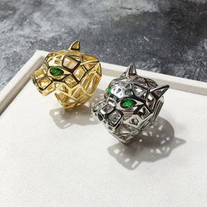 Anillo único de la serie Leopard para mujeres anillos de amor para hombres con cristal austriaco Stellux Party Jewelry Hollow green eyed tiger leopard head