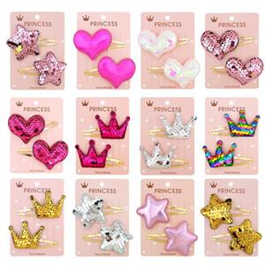 1 Paar Nette Baby Mädchen Haarnadeln Gradient Farbe Pailletten Fünfzeige Stern Liebe Haarspange Für Mädchen Kinder Haar Klemm Haar Zubehör