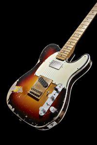 Джон Круз Мастер построил Энди Саммерса Tribute Heavy Relic Vintage Sunburst 1961 Tele электрической гитары TL Brass мост, Активные провода, катушки Split