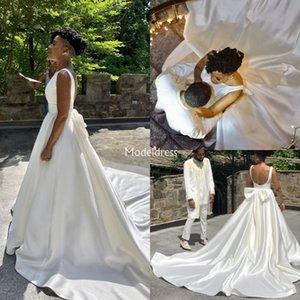 Nuovo Arabric abiti da sposa Backless Bow Una corte Ferrovia Black Girl Chiesa Garden Abiti da sposa taglie forti Paese Castello Vestidoe De Noiva
