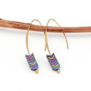 새로운 금 합금 자연 석재 기하학 화살표 모양의 스터드 귀걸이에 대한 여성 보석 선물 성명서 귀걸이 YC