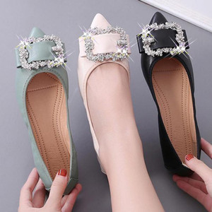 Shallow Single Women Flats Shoes Ballerina Loafers Lady Slip On Crystal Moccasins Bride Shoes Wedding Soft Peas Zapatos Mujer