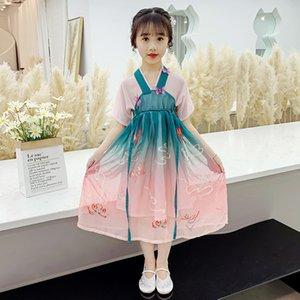Babykleid Hanfu Verbesserte dreidimensionale Schmetterling Hanfu Kleid Sommermädchentanz der chinesischen Art Hanfu Chiffon- Kleid der Kinder