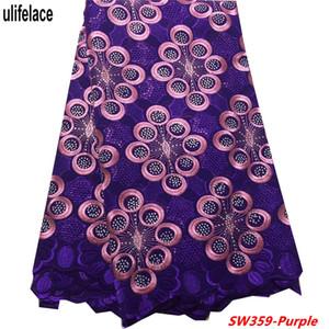 Swiss voile lace nigeria Cotton Embroide African Swiss Voile Lace Fabric 2019 Alta calidad Nigeriano encaje de algodón seco con piedras SW-359