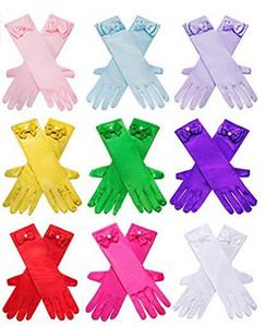 Guantes de satén del estiramiento de la vendimia Muchacha de la elegancia de la danza del Bowknot Guante de noche del partido de Navidad de Halloween guantes largos de los guantes del dedo de los niños GGA2961-1