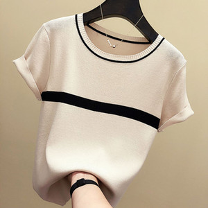shintimes Thin Knitted Cotton T Shirt Women 2019 Summer Woman Short Sleeve Tees Tops Striped Casual T-Shirt Female Tshirt Femme