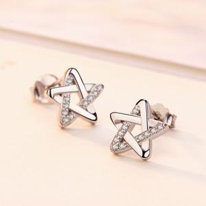 Sıcak yeni beş köşeli yıldız gümüş kristal küpe moda basit manşet küpe Kore versiyonu kadın sevgililer günü takı