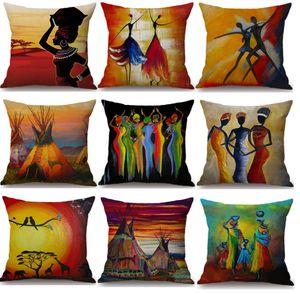 Aquarell Tanzen Afrikanische Frau Kissenbezüge Afrika Kultur Kunst Kissenbezug Sofa Dekorative Beige Leinen Kissenbezug