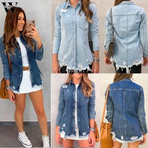 giacca Womail Casacca Donne Vintage base Giacca di jeans invernali foro Jeans casuale allentata in forma Corea Kpop cappotto 815