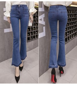 JinYiLai Blueberry Ms wide-legged calças jeans reta Leg
