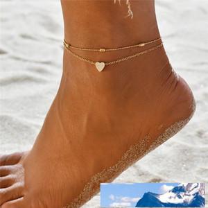 Einfaches Herz Fußkettchen Barfuß Silber Gold Farbe Sandalen Fuß Schmuck Leg Anklet New Bohemian Fuß Sprunggelenk für Frauen
