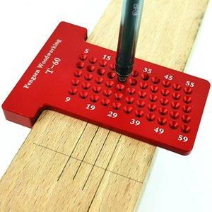 Cheap Gauges T60 T-type Ruler Hole Scribing Measuring Wood Gauge Woodworking Scriber Mark Line Gauge Gauges