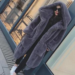 Kış Faux Kürk Uzun Ceket Kadın Kalın Sıcak Kabarık Boy Kapşonlu Mont Palto Kadın Gevşek Peluş Kürk Ceketler Giyim