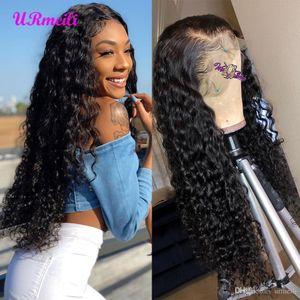 cabello humano de la onda profunda de las pelucas del frente del pelo humano brasileño corto de encaje pelucas duendecillo Perruques de cheveux humains afro peluca pelo rizado humano rizado