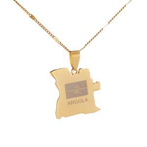 Aço inoxidável Angola Mapa colar de ouro pingente Cor mulheres dos homens angolanos País Mapas cadeia de jóias