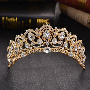 Hot Greek Silver Gold Bridal Crown Sparkle Cristales con cuentas Royal Wedding Crowns Crystal Veil Diadema Accesorios para el cabello Fiesta Estudio Tiaras