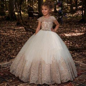 Nova Vestidos menina Beading Sash Bola Vestidos Lace apliques o chão Meninas Flor Princesa elegante Casamento Pageant Dresse