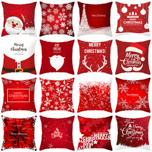 Papai Noel Elk Series Snowflake Pillowcase Red Feliz sofá do Natal lance fronha Natal de Ano Novo fronha 40 Patterns DHA735