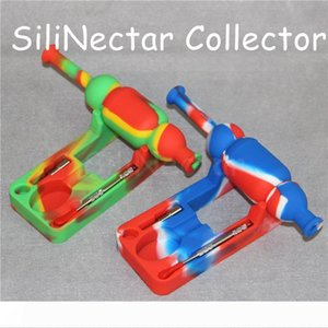 wholesale silicone nectar collector kits silicone container dab tool Smoking Glass Bongs Accessories Silicone mats and silicon rigs DHL