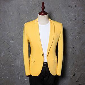 Mens Classic Plus Size 5XL Traje amarillo Chaqueta de moda Casual Blazer Designs Costume Homme Stage Clothes For Singers