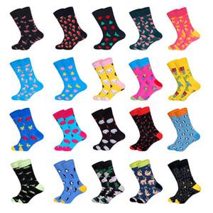 LIONZONE Marque Designer Cadeaux Happy Socks pour Fruits hommes Smiling Face fou animaux modèles de couleur unisexe mi-chaussettes
