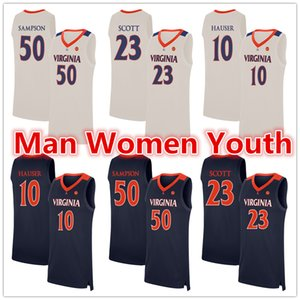 custom made NCAA Virginia Cavaliers basketball jerseys Mike Scott 23 Ralph Sampson 50 Sam Hauser 10 jersey any name number size S-5XL