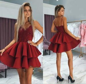 DARK rouge Robes avec bretelles à volants Jupes Paillettes dentelle Appliqued courte Prom BC0002 robe formelle