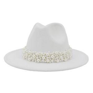 2020 Kadınlar Geniş Brim İmitasyon Yün Fedora Şapkalar Moda Kilisesi Parti Kadın Elbise Şapka İnci Şerit Dekor Beyaz Şapka Keçe