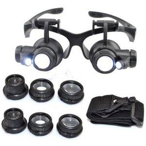 Loupe bandeau LED lunettes de lumière Eye 10x Loupe 20x Watchmaker 25x Loupe 15x Lens pour bijoux en verre Dual Lentille Optique Nouveau Osggq