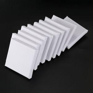 10Pcs / Set Art Boards Blank Blanc Mini Tendue Toile d'artiste Art Board huile Peinture acrylique Bois + coton pour peinture Création