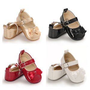 Baby Soft Leather Shoes Newborn Baby Girls Bow Princess Shoes Soft Soled Non-slip Crib 0-18M