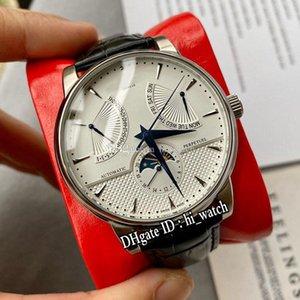 Reloj para hombre de plata nueva complicación Patrimonio de fase lunar automática Dial correa de cuero azul Manos Marcadores Stick DayDate Negro Hi_Watch E71a1