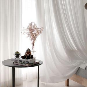 Blanc Tulle Rideaux pour le salon Décoration moderne en mousseline de soie solide Sheer Rideau Cuisine Voile Décoration
