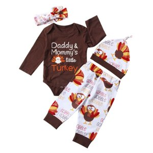 4XThanksgiving Newborn Baby Turkey Romper Pants Hat Headband Outfit Clothes Set