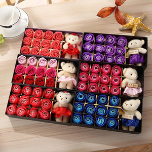 Romantic Rose Soap Flower With Little Cute Bear Doll 12pcs Box Gift For Valentine Day Gifts for Wedding birthday Gifts RRA2807