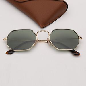 Quadro óculos de sol Moda feminina óculos de sol dos homens óculos de sol ouro lentes rosa vidro do espelho UV400 Proteção com capa de couro grátis
