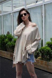 Diseñador de moda suéteres suelta de manga larga vestido Sexy Knites sólido Donna Varios vestidos para mujer de Split Hem