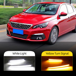 2PCS car styling for Peugeot 308 2016 2017 LED driving DRL with Daytime Running Light yellow turn signal Fog Head Lamp