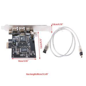 إضافة على بطاقات 1 مجموعة PCI-E 1X منفذ IEEE 1394a 4 (3 + 1) محول بطاقة فايرواير مع 6 دبوس دبوس إلى 4 IEEE 1394