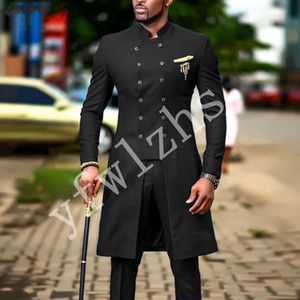 Newest Double-Breasted Groomsmen Mandarin Lapel Wedding Groom Tuxedos Men Suits Wedding Prom Dinner Best Man Blazer(Jacket+Tie+Pants) T25